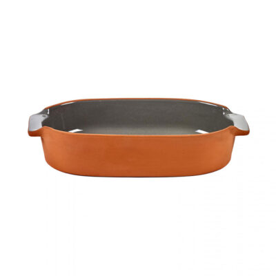 grey oval bakeware made of terracotta, jansen+co by serax