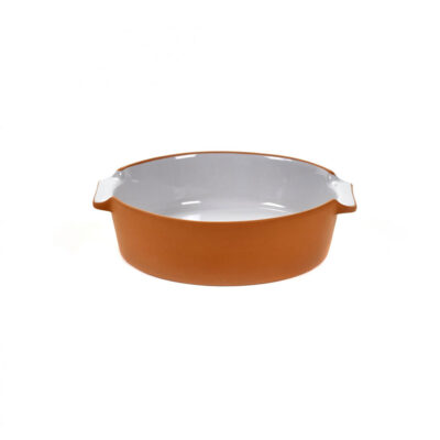 light grey round bakeware made of terracotta, jansen+co by serax