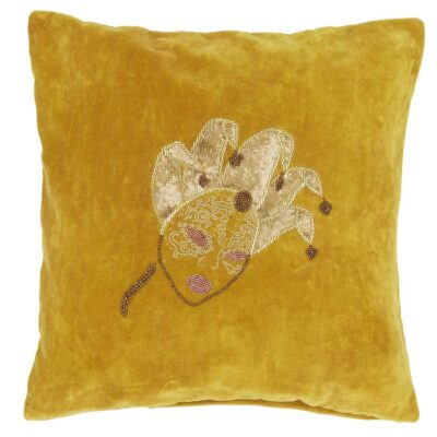 yellow velvet cushion cover by Jakobsadals