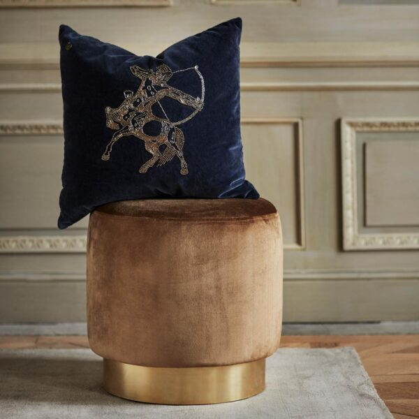 blue velvet cushion by Jakobsdals