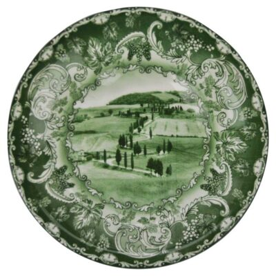 hand made green round plate by Arcucci