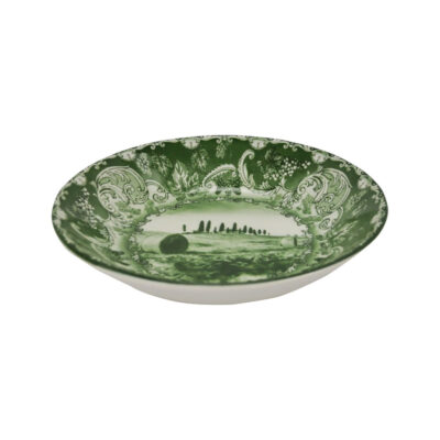 hand made green soup plate by Arcucci