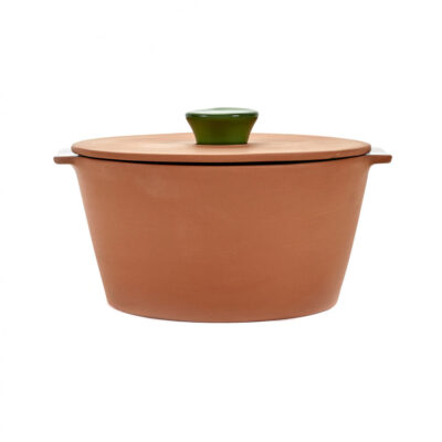 grey green casserole made of terracotta, jansen+co by serax