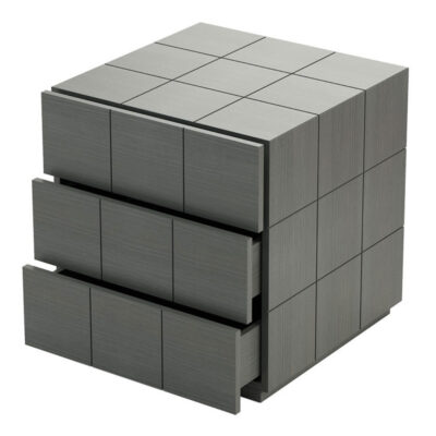 grey mat bedside table with a square patterned by laskasas