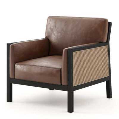 leather armchair with wooden structure and straw back by laskasas
