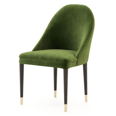 upholstered modern green dining chair with wooden and metal feet by Laskasas