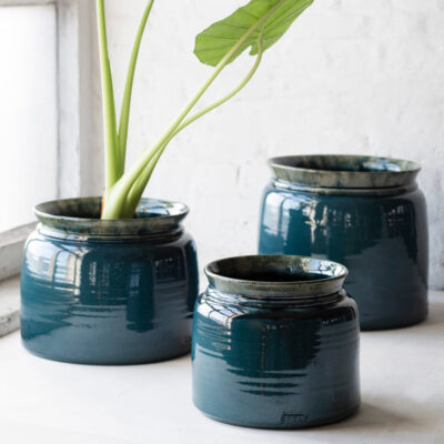 dmade ceramic flower pot blue by Serax
