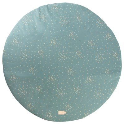 round playmat gold confetti green by nobodinoz