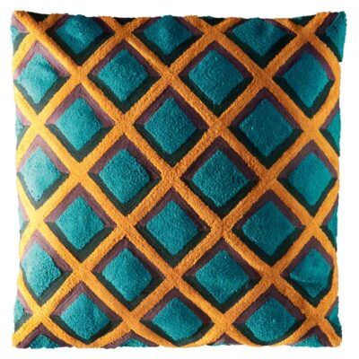 Hand embroidery square cushion in wool by toulemonde