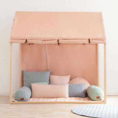 hut home shape pink in cotton by nobodinoz