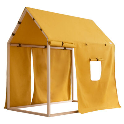 kids hut home shape in yellow cotton by nobodinoz