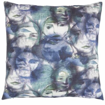 identity blue face cushion by Jakobsdals