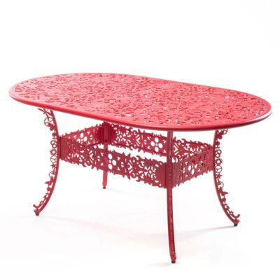 outdoor aluminium oval table red by Seletti