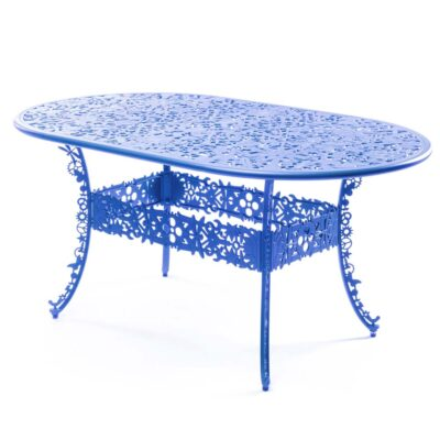 outdoor aluminium oval table blue by Seletti