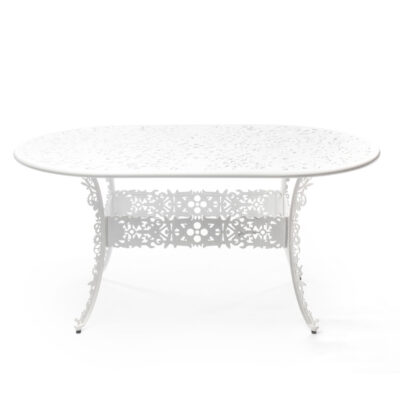 outdoor aluminium oval table white by Seletti