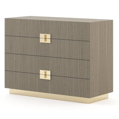wooden chest of 4 drawers with metallic handles by Laskasas
