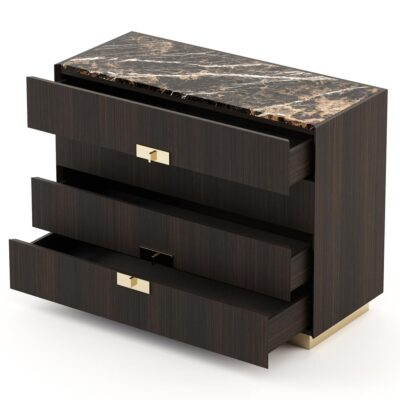 wooden chest of 4 drawers with metallic handles and marble top by Laskasas