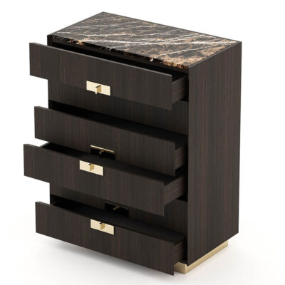 6-drawer wooden tallboy with metal handles and base by Laskasas