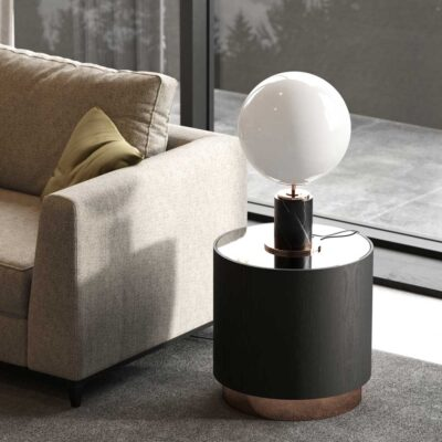 black marble with white glob table lamp by Laskasas