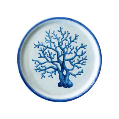 hand made blue dessert plate with coral by Arcucci