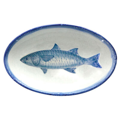 hand made blue oval tray with fish by Arcucci