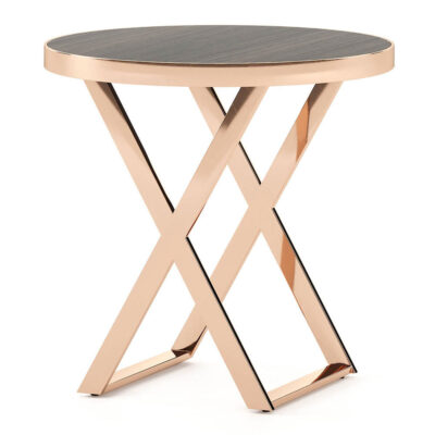 contemporary side table with a metallic top by Laskasas
