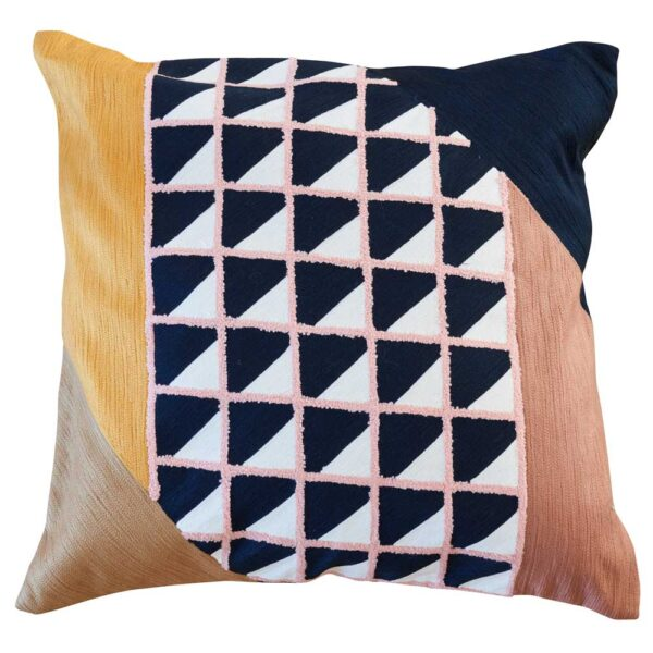 Hand embroidery square cushion in wool and cotton by Toulemonde