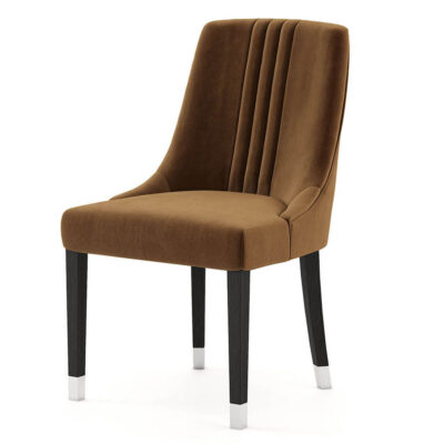 brown dining chair with wooden legs and metallic details by Laskasas