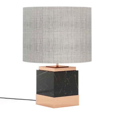 black marble and copper finish table lamp by laskasas