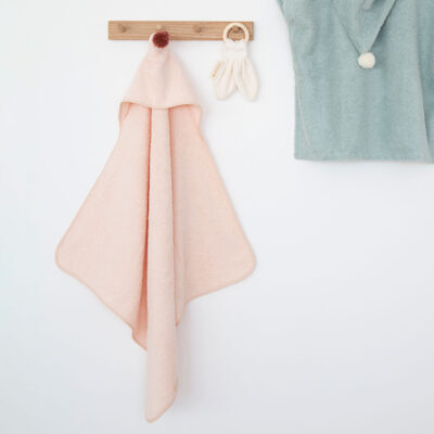baby bath cape pink by nobodinoz