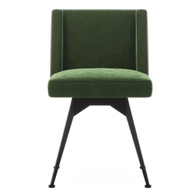 green upholstered chair with metal legs by Laskasas