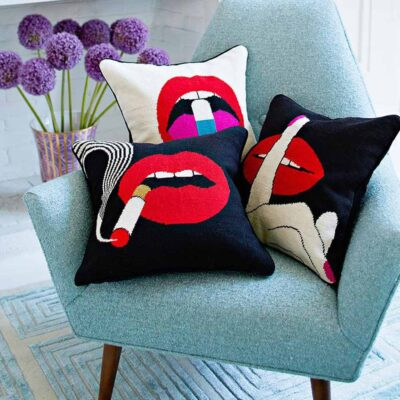 needlepoint lips hush pillow by Jonathan Adler
