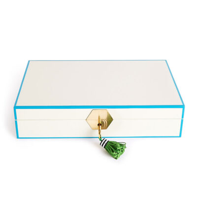 lacquer jewel box white and green by Jonathan Adler