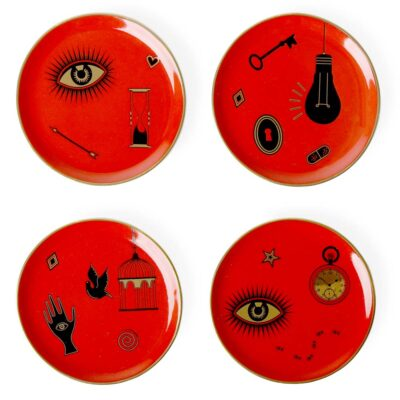 4 red bijoux coasters by Jonathan Adler