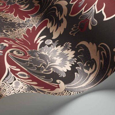 Albemarle Aldwych, burgundy damask wallpaper by Cole & Son