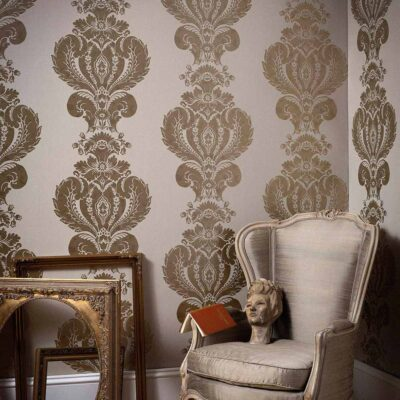 Albemarle Baudelaire ornamental gold leaf wallpaper by Cole & Son