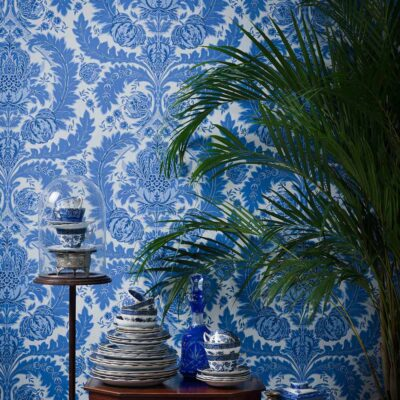 Albemarle Coleridge blue leaves wallpaper by Cole & Son