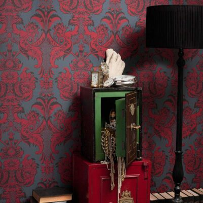 Albemarle Wyndham red floral damask wallpaper by Cole & Son