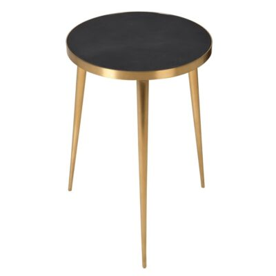 Aled Concrete Top Side Table with Brushed Gold Stainless Steel Frame by Latzio