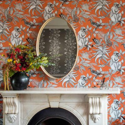 Ardmore Savuti orange wallpaper with baboons by Cole & Son