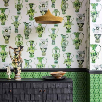Ardmore khulu green vases with african animals wallpaper by Cole & Son