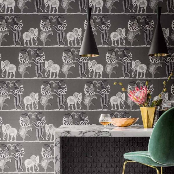 Ardmore safari dance wallpaper with elephants by Cole & Son