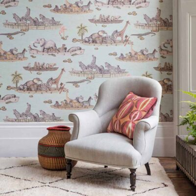 Ardmore Zambezi animals on boats wallpaper by Cole & Son
