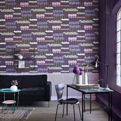 Botanical Botanica allium, purple floral motif wallpaper by Cole & Son