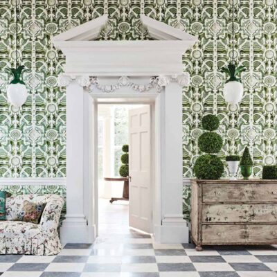 Botanical Botanica topiary, green labyrinth wallpaper by Cole & Son