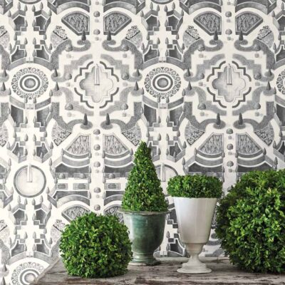 Botanical Botanica topiary, grey labyrinth wallpaper by Cole & Son