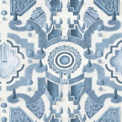 Botanical botanica topiary, blue labyrinth wallpaper by Cole & Son