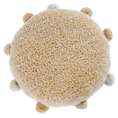 Floor round cushion yellow with pompom by Lorena Canals