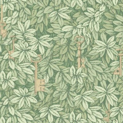 Fornasetti chiavi segrete, leaves wallpaper by Cole & Son