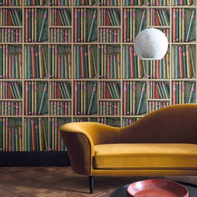 Fornasetti ex libris, books wallpaper by Cole & Son
